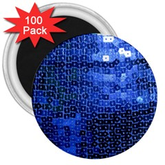 Blue Sequins 3  Magnets (100 Pack) by boho