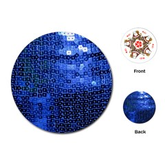 Blue Sequins Playing Cards (round)  by boho
