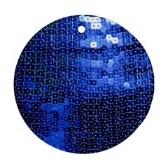Blue Sequins Round Ornament (two Sides) by boho