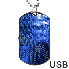 Blue Sequins Dog Tag Usb Flash (one Side) by boho