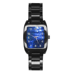 Blue Sequins Stainless Steel Barrel Watch by boho