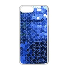 Blue Sequins Apple Iphone 7 Plus White Seamless Case by boho