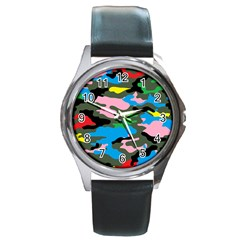 Rainbow Camouflage Round Metal Watch by boho