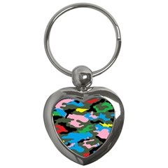 Rainbow Camouflage Key Chains (heart)  by boho