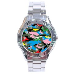 Rainbow Camouflage Stainless Steel Analogue Watch by boho