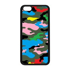 Rainbow Camouflage Apple Iphone 5c Seamless Case (black) by boho