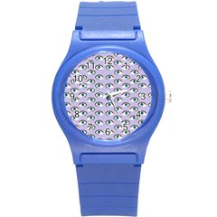 Purple Eyeballs Round Plastic Sport Watch (s) by boho