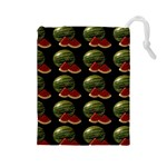 Black Watermelon Drawstring Pouches (Large)  Front