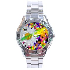Happy Birthday Stainless Steel Analogue Watch by boho