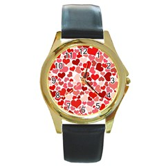 Red Hearts Round Gold Metal Watch by boho