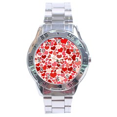 Red Hearts Stainless Steel Analogue Watch by boho