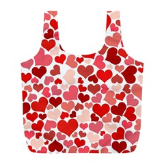 Red Hearts Full Print Recycle Bags (l)  by boho