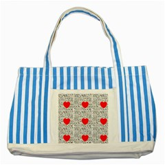 I Love You Striped Blue Tote Bag by boho