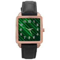Abstract Blue Stripe Pattern Background Rose Gold Leather Watch