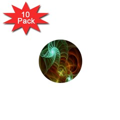 Art Shell Spirals Texture 1  Mini Buttons (10 Pack)  by Simbadda