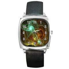 Art Shell Spirals Texture Square Metal Watch by Simbadda
