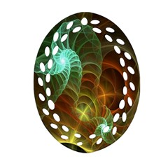 Art Shell Spirals Texture Oval Filigree Ornament (two Sides) by Simbadda