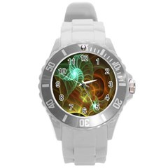 Art Shell Spirals Texture Round Plastic Sport Watch (l) by Simbadda