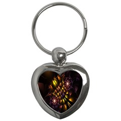 Art Design Image Oily Spirals Texture Key Chains (heart)  by Simbadda
