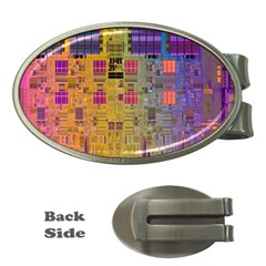 Circuit Board Pattern Lynnfield Die Money Clips (oval)  by Simbadda