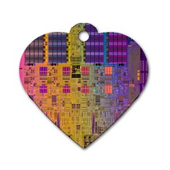 Circuit Board Pattern Lynnfield Die Dog Tag Heart (two Sides) by Simbadda