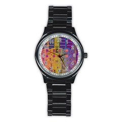 Circuit Board Pattern Lynnfield Die Stainless Steel Round Watch by Simbadda