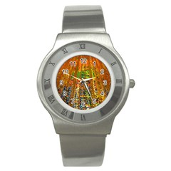 Circuit Board Pattern Stainless Steel Watch by Simbadda