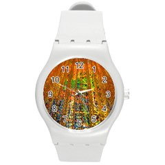 Circuit Board Pattern Round Plastic Sport Watch (m) by Simbadda