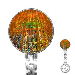 Circuit Board Pattern Stainless Steel Nurses Watch by Simbadda
