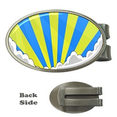 Sunlight Clouds Blue Sky Yellow White Money Clips (oval)