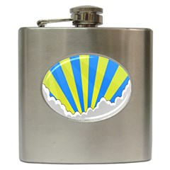 Sunlight Clouds Blue Sky Yellow White Hip Flask (6 Oz)
