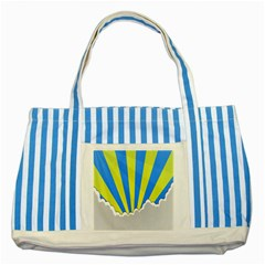 Sunlight Clouds Blue Sky Yellow White Striped Blue Tote Bag by Alisyart