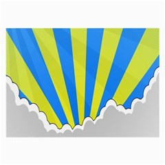 Sunlight Clouds Blue Sky Yellow White Large Glasses Cloth (2 Side) by Alisyart