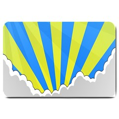 Sunlight Clouds Blue Sky Yellow White Large Doormat