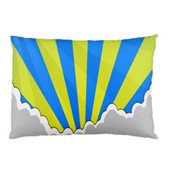 Sunlight Clouds Blue Sky Yellow White Pillow Case by Alisyart