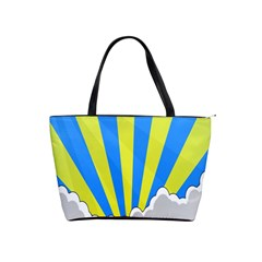 Sunlight Clouds Blue Sky Yellow White Shoulder Handbags by Alisyart
