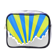 Sunlight Clouds Blue Sky Yellow White Mini Toiletries Bags