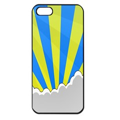 Sunlight Clouds Blue Sky Yellow White Apple Iphone 5 Seamless Case (black)