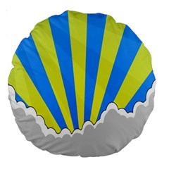 Sunlight Clouds Blue Sky Yellow White Large 18  Premium Round Cushions