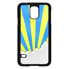 Sunlight Clouds Blue Sky Yellow White Samsung Galaxy S5 Case (black)