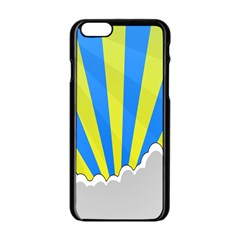 Sunlight Clouds Blue Sky Yellow White Apple Iphone 6/6s Black Enamel Case by Alisyart