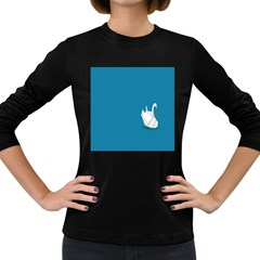 Swan Animals Swim Blue Water Women s Long Sleeve Dark T Shirts