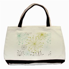 Retro Floral Flower Seamless Gold Blue Brown Basic Tote Bag by Alisyart