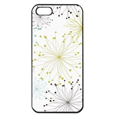 Retro Floral Flower Seamless Gold Blue Brown Apple Iphone 5 Seamless Case (black)