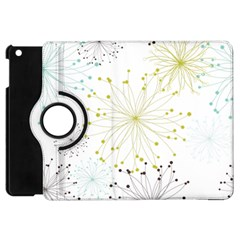 Retro Floral Flower Seamless Gold Blue Brown Apple Ipad Mini Flip 360 Case