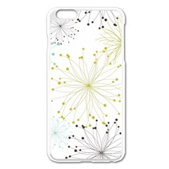 Retro Floral Flower Seamless Gold Blue Brown Apple Iphone 6 Plus/6s Plus Enamel White Case