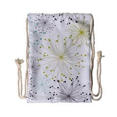 Retro Floral Flower Seamless Gold Blue Brown Drawstring Bag (small) by Alisyart