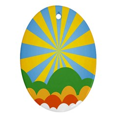 Sunlight Clouds Blue Yellow Green Orange White Sky Ornament (oval)