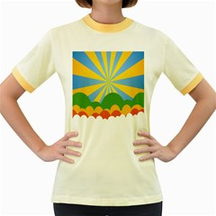 Sunlight Clouds Blue Yellow Green Orange White Sky Women s Fitted Ringer T Shirts