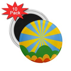 Sunlight Clouds Blue Yellow Green Orange White Sky 2 25  Magnets (10 Pack)